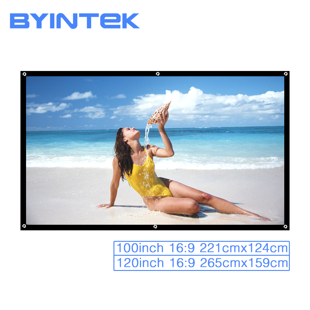 BYINTEK 100inch 120inch 16 9 Portable Foldable Front Rear Home Theater Outdoor Movie Game White Projector
