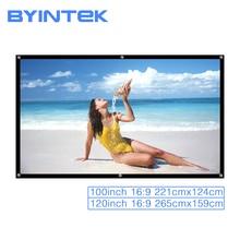 BYINTEK מקרן הקרנת מסך 100 אינץ 120 אינץ 16:9 נייד סרט משחק לבן מתקפל קדמי אחורי קולנוע ביתי חיצוני
