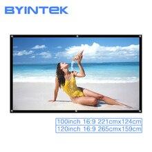 Byintek projetor tela de projeção 100 polegada 120 polegada 16:9 filme portátil jogo branco dobrável frente traseira cinema em casa ao ar livre
