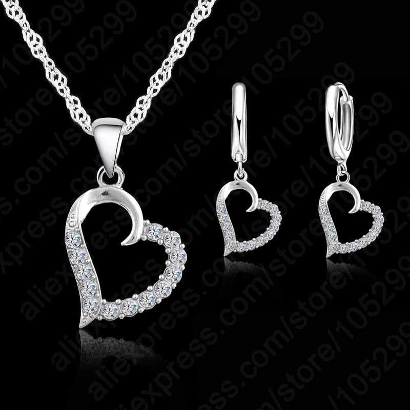Classic Cubic Zircon Heart Pendant Jewelry Set 925 Sterling Silver Necklace/Earring Women Wedding Sets