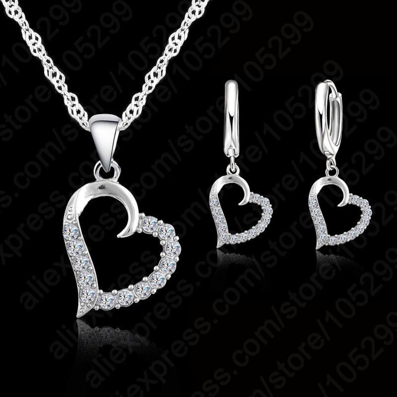 JEXXI Classic Cubic Zircon Heart Pendant Jewelry Set 925 Sterling Silver Necklace/Earring Women Wedding Sets