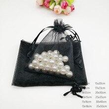 Siyah organze çanta büzme ipli kese çanta hediyelik takı kutusu Için Küpe/Kolye/Yüzük/Takı Ekran Ambalaj Poşetleri Organizatör Diy
