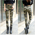 Big Size 25-34 Women Green Camo Pants Full Lenght Female Casual Slim long camouflage Pencil Pants Skinny Capris for girl