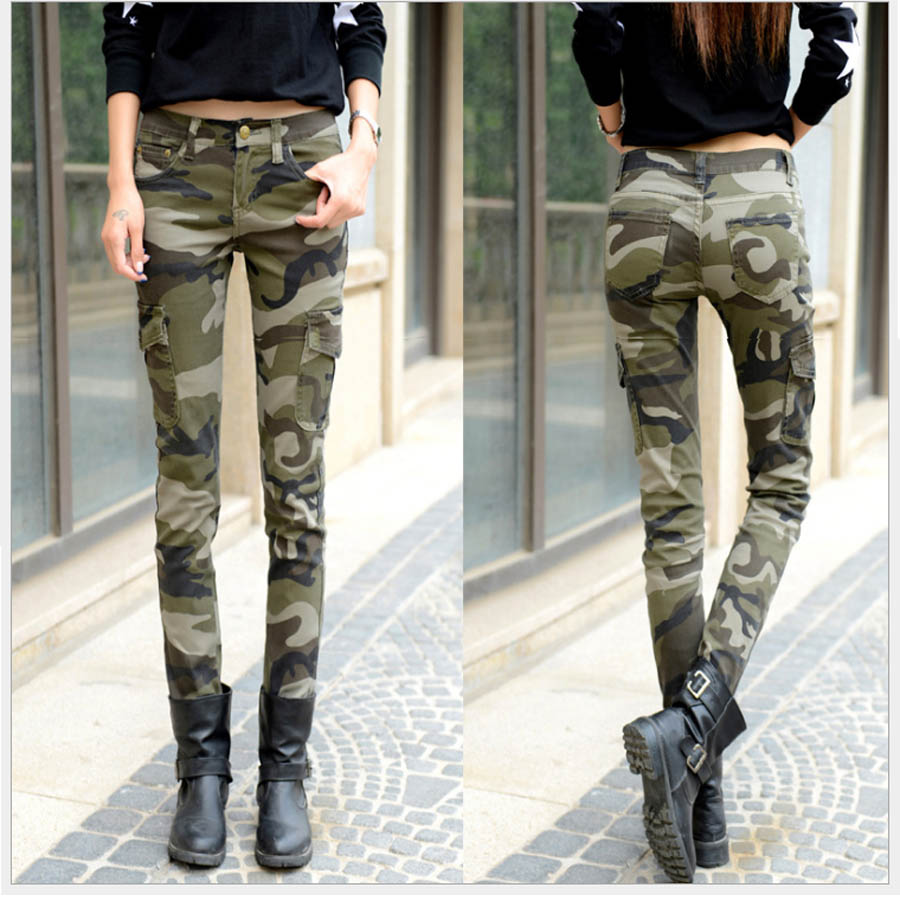 Size 25-34 Women Green Camo   Pants   Full Lenght Female Casual Slim long camouflage Pencil   Pants   Skinny   Capris   for girl
