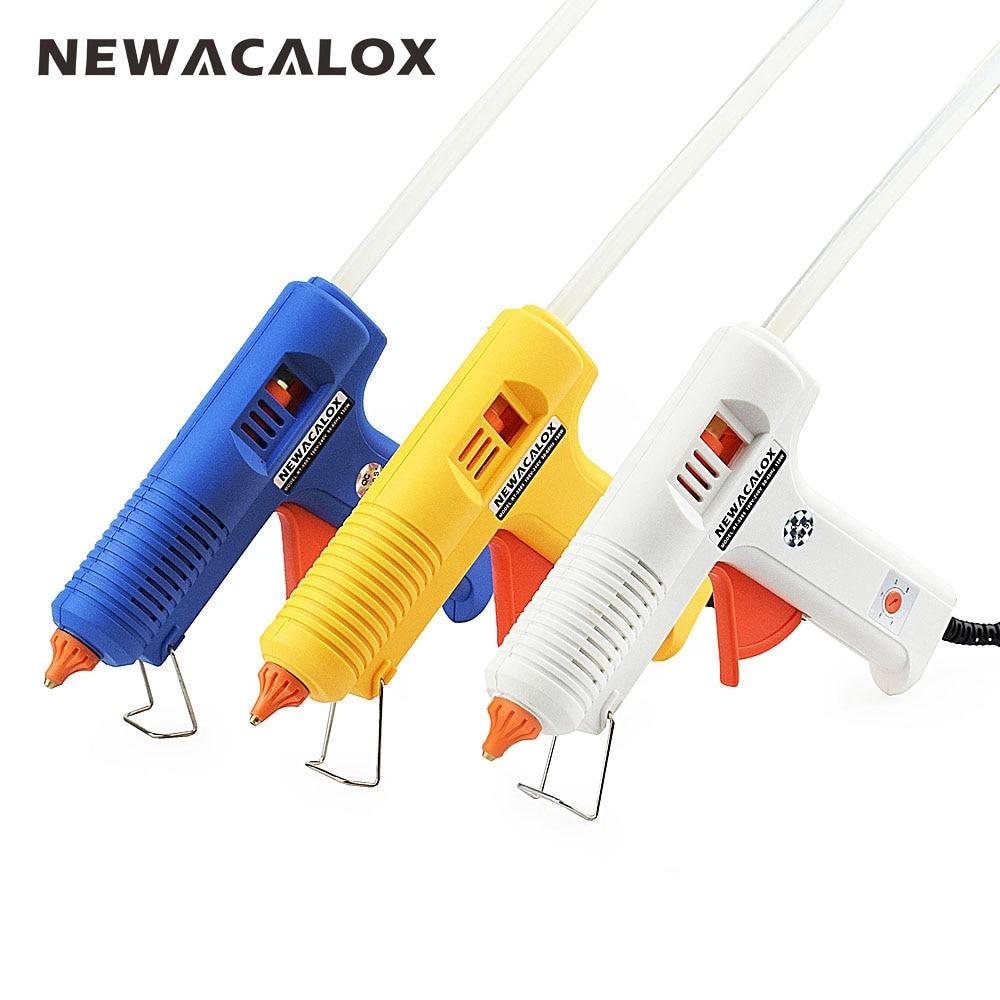 NEWACALOX 150 W UE DIY pistola de pegamento de fusión en caliente 11mm Stick adhesivo Industrial silicona eléctrica pistolas Thermo Gluegun reparación herramientas de calor