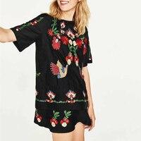 Fashion 2pcs Black Summer Dress 2017 Women O Neck Short Sleeve Floral Embroidery Dress Brand Vestidos