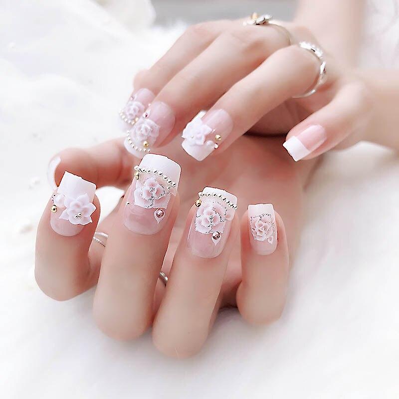 3D Flowers DIY Pink Color Fake Nail Ladies Wedding Rhinestone False Nail Girls New Design Full Cover Nail Art Tips with Glue dřevěné dekorace do dětského pokoje