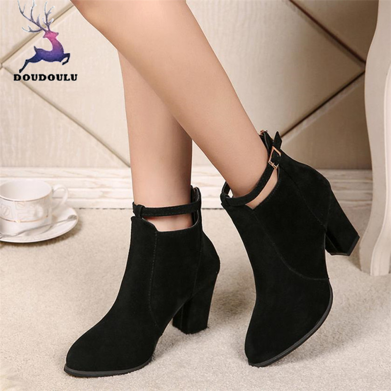 Women Buckle Ladies Belt Faux Warm Boots Ankle Boots High