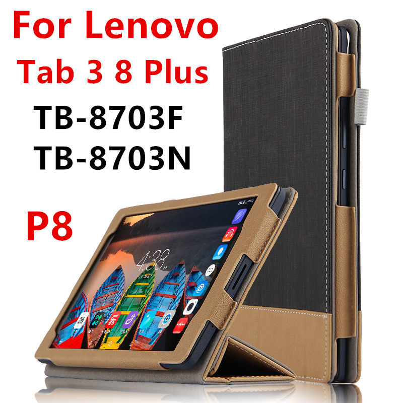 Case For Lenovo P8 Tab 3 8 Plus Protective Smart cover Faux Leather Tablet For TB-8703F TB-8703N 8 inch PU Protector Sleeve Case цена 2016