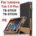 Case para lenovo p8 tab 3 8 plus elegante protector imitación de Cuero de la Tableta Para TB-8703F TB-8703N 8 pulgadas PU Protector de La Manga case