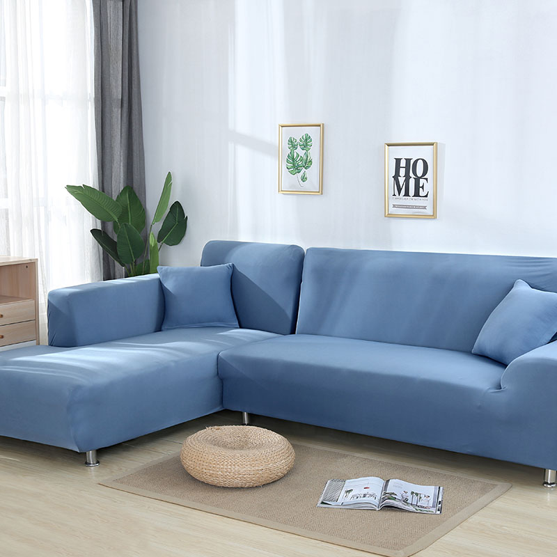 L Shaped Solid Sofa Cover With Elastic