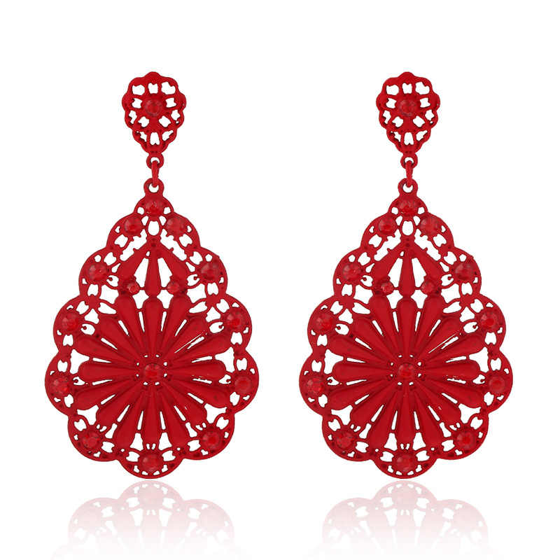 2019 Brand luxury fashion Hollow out punk Channel Earring Gypsy Vintage Red Boho beads Drop Earrings for Women Jewelry wholesale