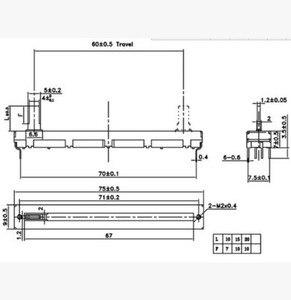 Image 2 - Бесплатная доставка оригинальный 7,5 см 75 мм A10KX2 двойной прямой скользящий потенциометр A10K    20 шт./лот