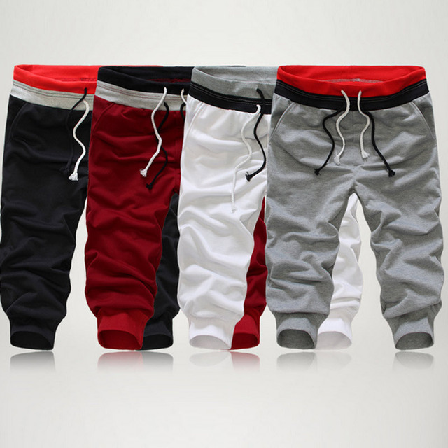 84d3fc66 Fashion Men Pants Solid Color Elastic Sweatpants Three Quarter Troursers  Boys Casual Beach Pants