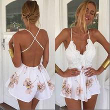 2016 Summer Lace Rompers Women Jumpsuit New Fashion Retro V-neck Floral Print Fitted Jumpsuit Straps Short Overalls Bodysuit