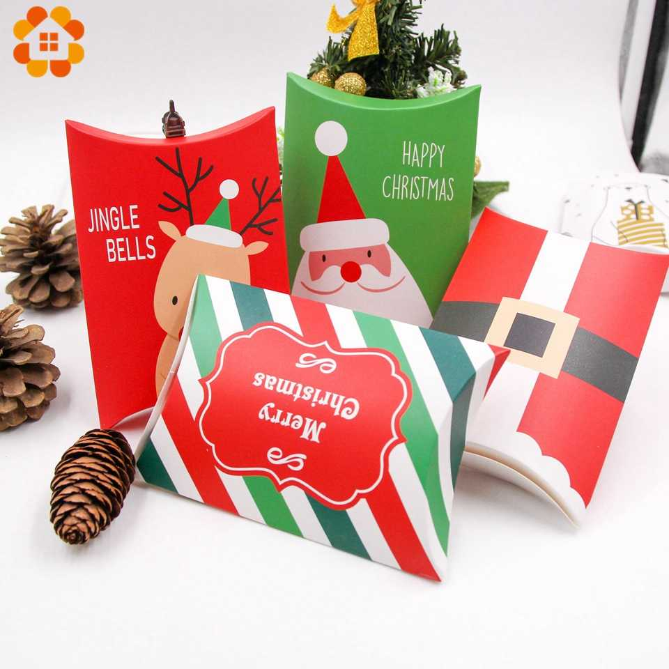 1Set Deer&Santa Claus Merry Christmas Candy Gift Boxes Guests Packaging Boxes Gift Bag Christmas Party Favors Kids Gift Decor