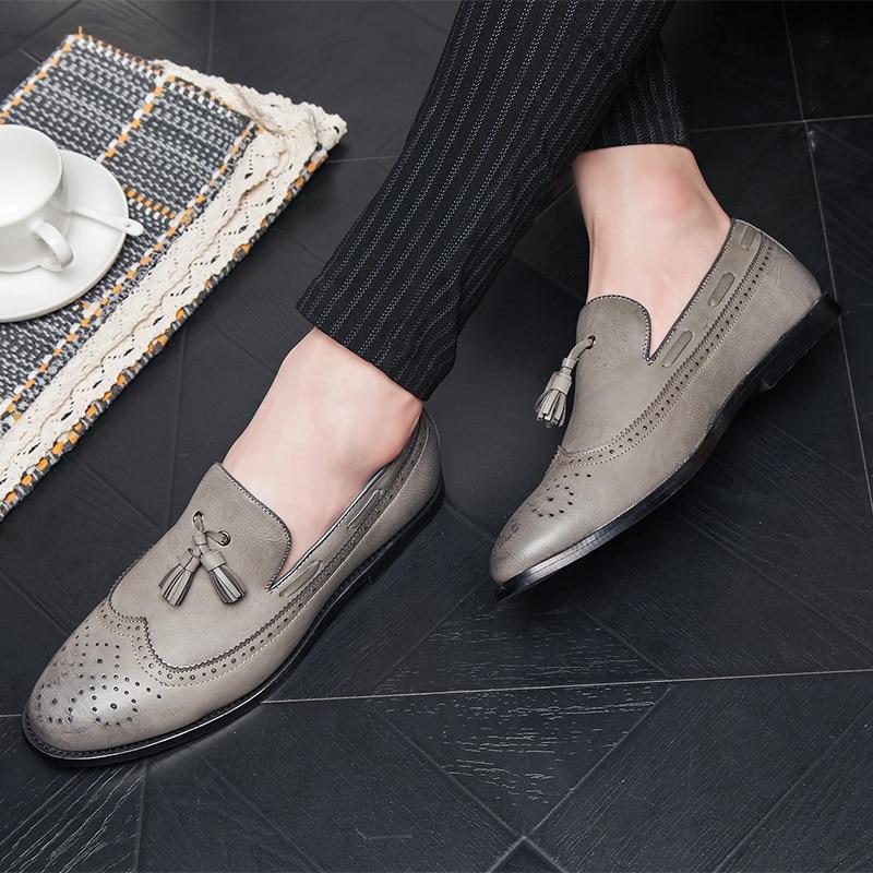 Dos Sapatos Pu 46 With khaki 47 Marca Socks Socks Homens Apartamentos Mens Luxo grey Black Casuais Da Do De Sapato Couro Tamanho Socks Flats Barco Mais Mocassins q5qrXf