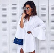 women white long shirt dress flare sleeves retro blouse dress vintage bell sleeves dress 90s ladies white dresses