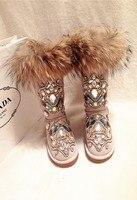Новые Роскошные зимние сапоги ручной работы с тотемным горным хрусталем, зимние сапоги на меху из лисьего меха, импортные товары, сапоги для