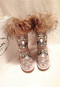 9d4db1ce0fc6 BJYL Winter luxury rhinestone snow boots fox fur large size