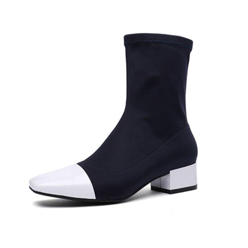 ENMAYER Frühling Hohe Ferse Schuhe Frau Karree Platz Ferse Plattform Frauen Casual Schuhe Lace up Dating Solide Shallow dame Schuhe - 6