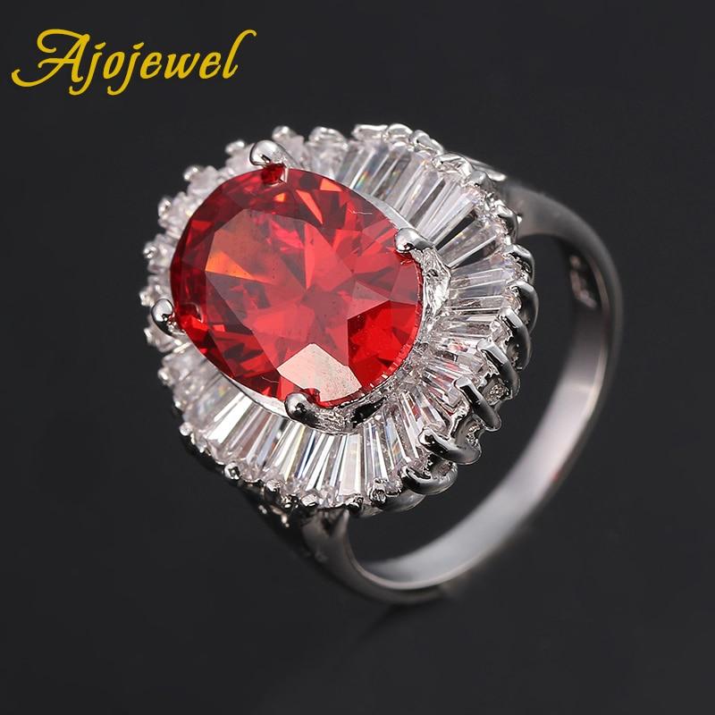 Ajojewel Clear Stock Brass Ring Jewelry Big Red CZ Rings For Women Wedding Party Jewllery Bijoux Femme