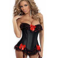 fajas Straitjacket corrective black Lace Corset With Bow For Sexy Women Waist Corset Overbust Corsets And Bustiers Body Shaper