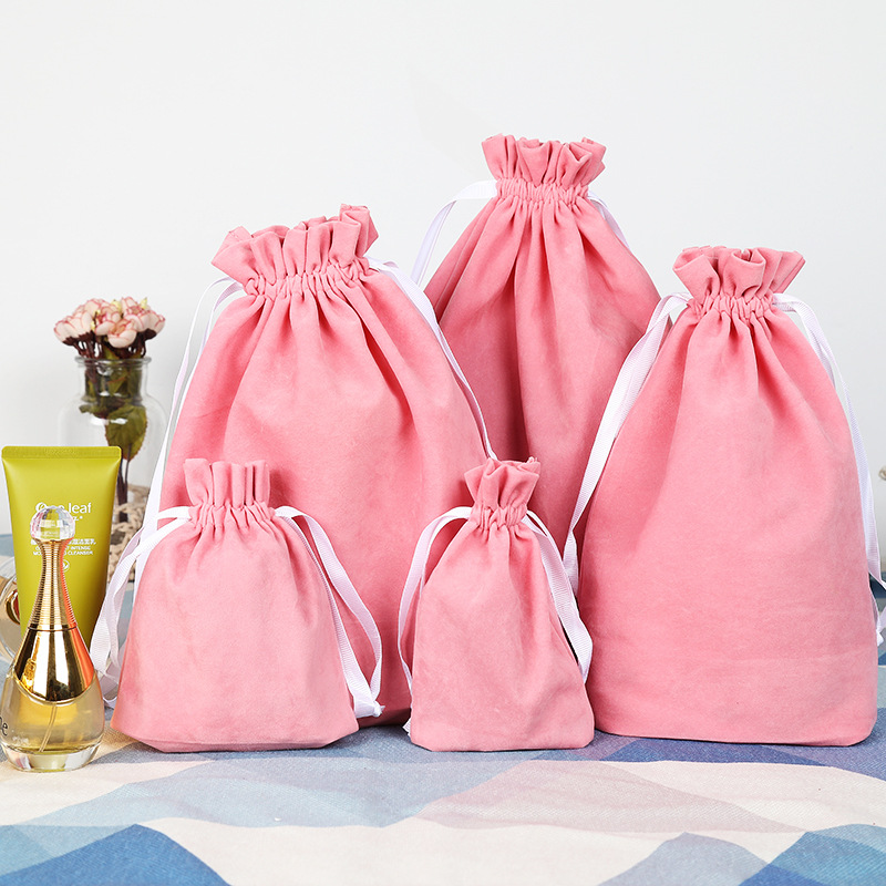 6 Size High Quality Packing Pink Velvet Bag Custom Logo Print  Pouch Wholesale Drawstring Bags For Wedding Gifts