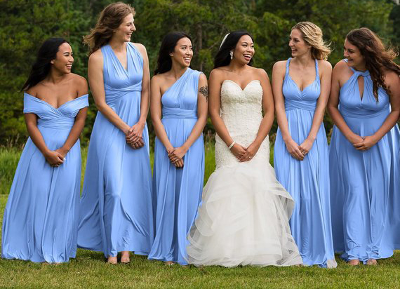 Sky Blue One Shoulder Convertible Dresses Party Twist Wrap Dress Considerate 2019 Baby Blue Infinity Bridesmaid Dress Sleeveless Dress