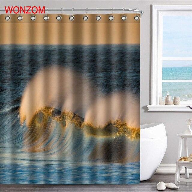 WONZOM Sea Wave Polyester Fabric Beach Shower Curtain Scenery Bathroom Decor Waterproof Cortina De Bano With