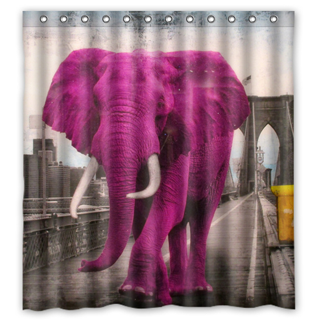 Retro Pink Elephant Bridge Custom Made Unique Curtains Bathroom Bath Waterproof Shower Curtain Size 48x72