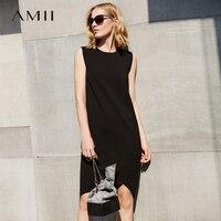 Amii Women Minimalist Dress 2018 Summer Solid Knee Length Sleeveless O Neck Female Dresses