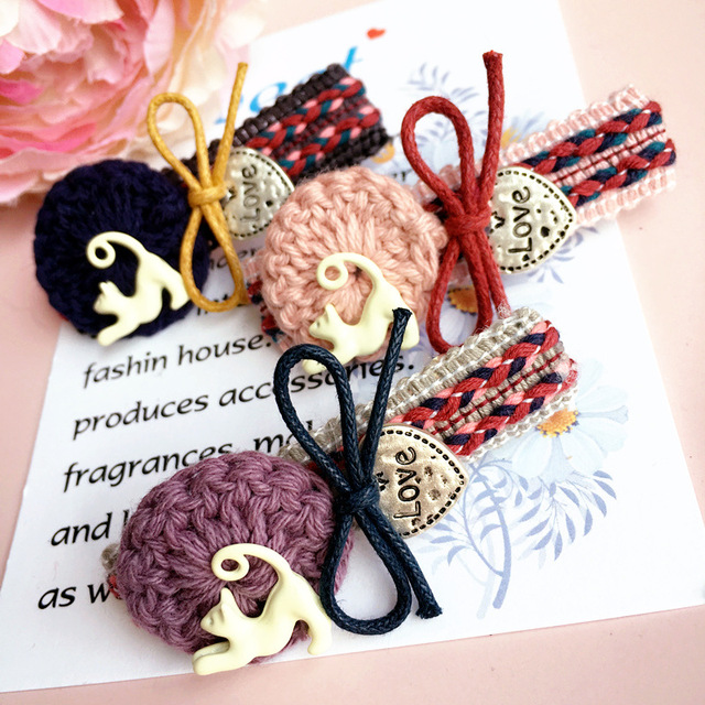 Korea Retro Weave Flowers Alloy Cat Side Bangs Clip Hair Accessories