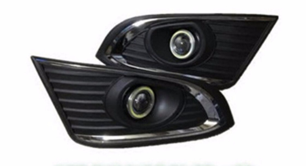 eOsuns COB angel eye led daytime running light DRL + halo Fog lamp + Projector Lens for chevrolet captiva 2014-2016, 2pcs eosuns cob angel eye led daytime running light drl fog light projector lens fog lamp cover for audi q5 2009 13 2pcs