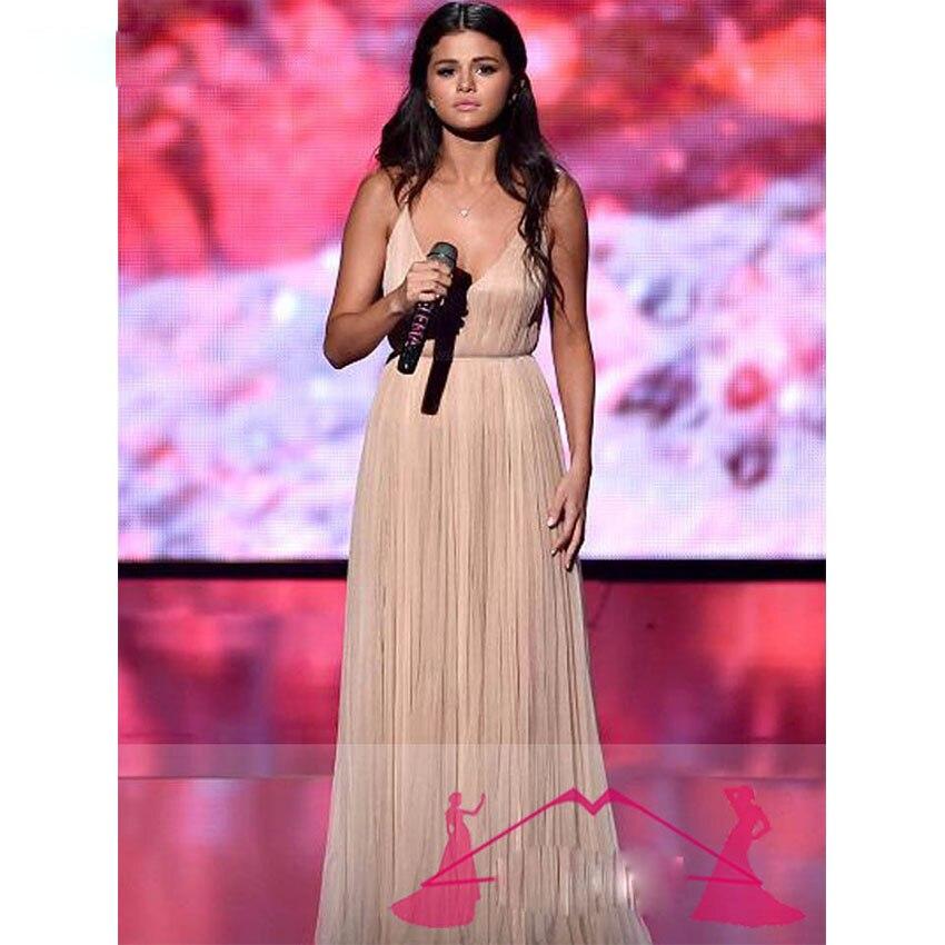 Selena Gomez Red Carpet Sexy Champagne Vestidos de Noche de Baile ...