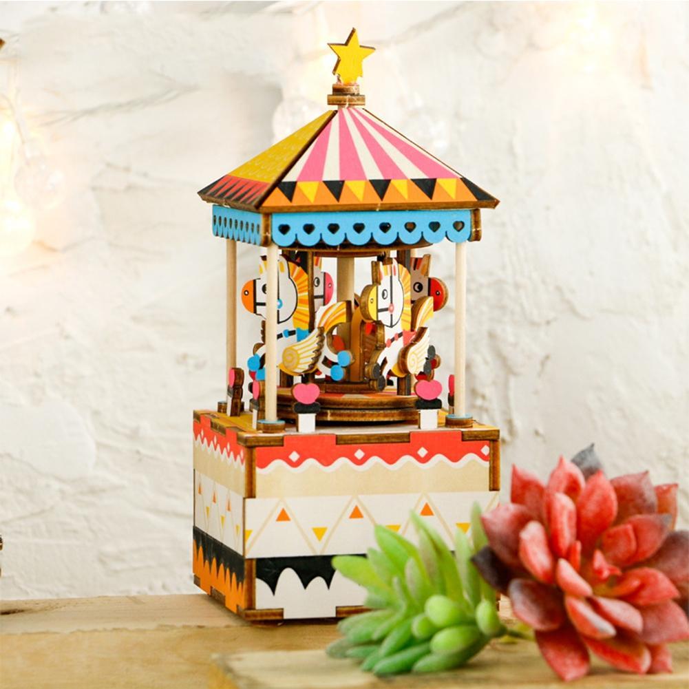 LeadingStar DIY Jigsaw Puzzle en Bois à la Main Boîte à Musique Carrousel Boîte Décoration de La Maison Cadeau De Noël zk30