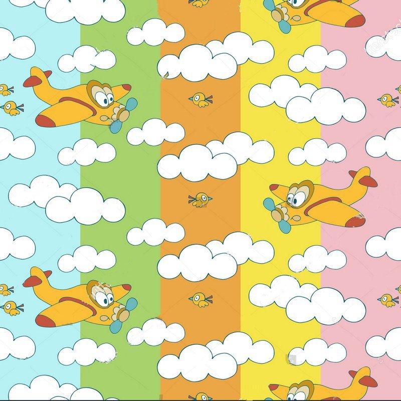 cloud plane bird colorful wall backdrop Vinyl cloth Computer print children kids Background