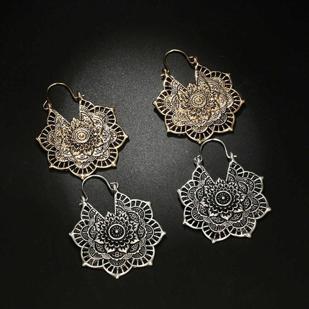 Antique Silver GYPSY ต่างหูเผ่าอินเดียชาติพันธุ์ Hoop Dangle Mandala Boho ต่างหู Fancinating เครื่องประดับ Oorbellen Pendientes