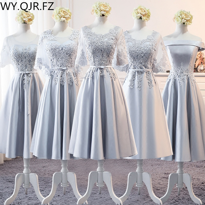 MSY110#Medium length style Grey Lace Up O-Neck   Bridesmaid     Dresses   wholesale cheap fashion clothing party   dress   gown prom China