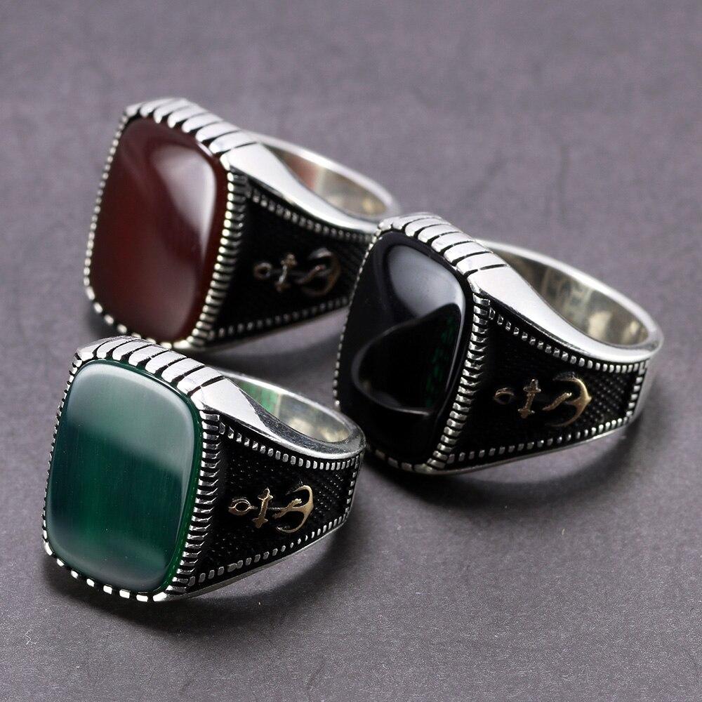 Véritable 925 anneaux d'ancrage en argent Sterling bijoux turcs Vintage pour hommes grande bague Punk Viking avec pierres rouge noir vert