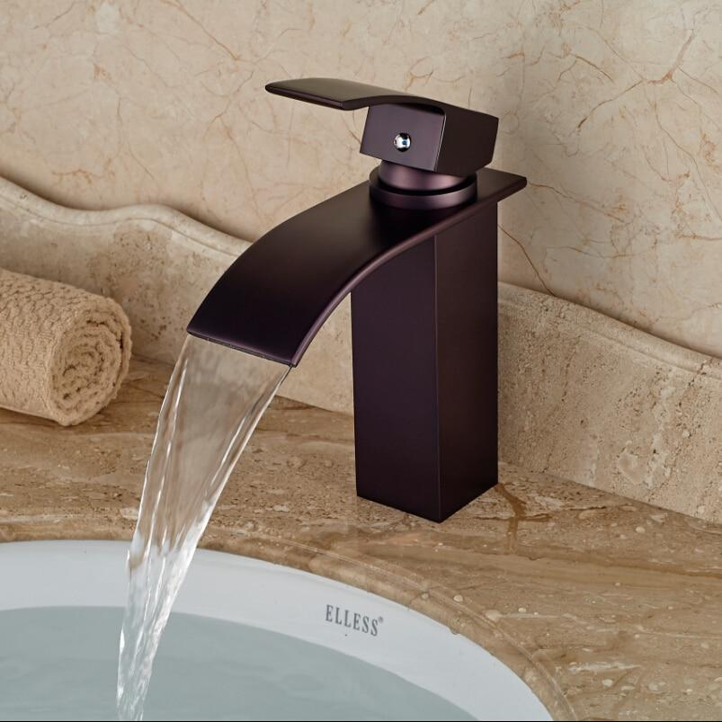 Oil Rubbed Bronze Waterfall Spout Bathroom Vessel Sink Faucet Deck ...