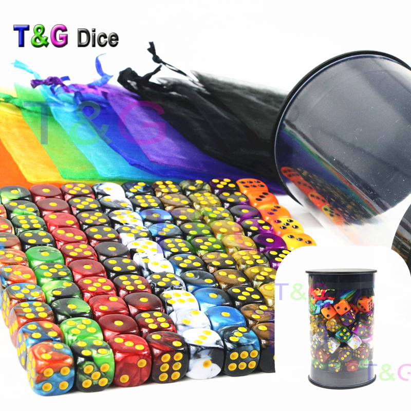 Top Quality 100pcs 12mm Colourful Mini Dice,Rounded Corners Standard Dots D6 Dice with1piece of Dice Tube and Rainbow Bags