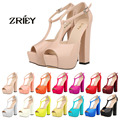 Women Sexy T-Strap Open Toe High Heels Platform Sandals Wedge Patent Leather Sandals Casual Shoes