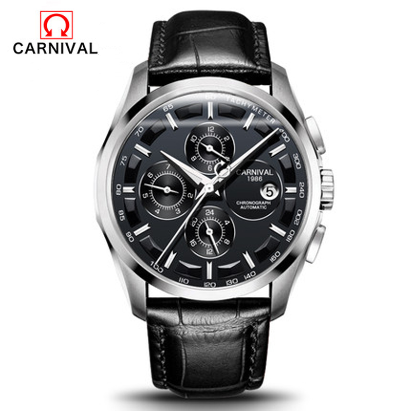 CARNIVAL men watches automatic mechanical watch stainless steel leisure  multi-functional retro waterproof leather male watch