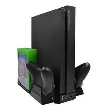 Multifunkcionális töltőállvány Xbox One X játékkonzolhoz kettős hűtőventilátorral 6db játék lemezek 2 mikro USB