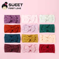 15pcs/lot Girls Big Floppy Cotton Bow Headband For Kids Solid Elastic Cloth Hair Band Large Bows Children Soft Hair Accessories