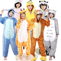 Adults Pajamas Hooded Autumn Winter Spring Sleepwear With Hooded Flannel Animal Stitch Panda Giraffe Cow Cartoon