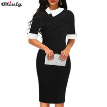 Oxiuly Casual Plain Office Work Midi Pencil Dress White Turn Down Collar Contrast Elegant Black Dress With Zip Work Dress 2019 spring summer loose black knitted dress women turn down collar office work midi dress women with button korean style dress