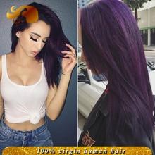 8A Best Brazilian Virgin Hair Lace Front Wigs Silk Straight Dark Purple Full Lace Human Hair Wigs For Black Women Bleached Knots