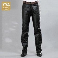 Новые модные мужские брюки из натуральной кожи, осень 2019, высокие уличные прямые свободные классические брюки, байкерские мягкие мужские бр...